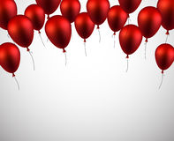Celebrate background with red balloons. Celebration background with red balloons and confetti. Vector illustration Royalty Free Stock Image