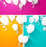 Celebrate backgrounds with flat balloons Stock Photos