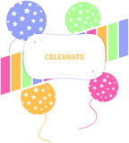 Celebrate Balloons and Stars. A label that says Celebrate against a background of a colorful striped ribbon and balloons with stars Stock Photo