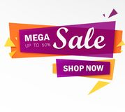 Celebrate banner. Party flags with confetti and balloons. Vector illustration. Limited Offer Mega Sale banner. Sale poster. Big sale, special offer, discounts Stock Image