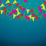 Celebrate banner. party flags with confetti Stock Image