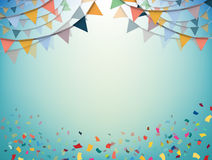 Celebrate banner. Party flags with confetti. Vector. Celebrate bunting flags, bunting Party with confetti, bunting Vector, bunting illustration, Colourful Stock Photography