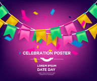 Celebrate banner party flags with confetti. Vector illustration.  Royalty Free Stock Photos