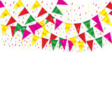 Celebrate banner. party flags with confetti. On white background Stock Photo