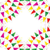 Celebrate banner. party flags with confetti. On white background Stock Image