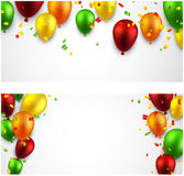 Celebrate banners with balloons. Royalty Free Stock Photos