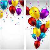 Celebrate banners with balloons. Royalty Free Stock Images