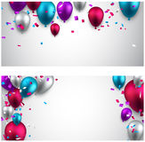 Celebrate banners with balloons Royalty Free Stock Images