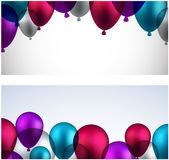 Celebrate banners with balloons Royalty Free Stock Photography