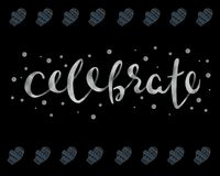 Celebrate. Beautiful greeting card calligraphy silver text word. vector. Celebrate. Beautiful greeting card calligraphy silver text word. Handwritten modern Stock Photos