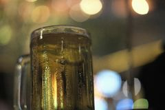 Celebrate with beer in night lights and soft background music