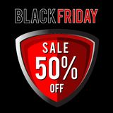 Shield of black friday sale. Celebrate of black friday sale sign with red shield illustration. available for sign website and banner vector illustration