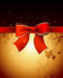 Celebrate bow background. Red celebrate bow on the gold floral background, this  illustration may be useful  as designer work Royalty Free Stock Photo