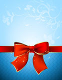 Celebrate bow background. Red celebrate bow on the blue floral background, this  illustration may be useful  as designer work Royalty Free Stock Photos