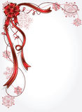 Celebrate bow background. Holiday bow and ribbon with snowflakes illustration Stock Images