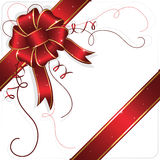 Celebrate bow and ribbon with stars. Holiday bow and ribbon, illustration Stock Images