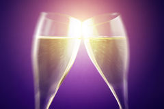 Celebrate with bubbly wine. Blurred style photo royalty free stock image