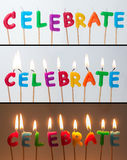 Celebrate Candles. Birthday cake candles saying celebrate viewed in three ways. Unlit, lit on light background and lit on darker background. Cut and paste as you royalty free stock photo