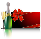 Celebrate card. With champagne & gift,  this illustration may be useful as designer work Royalty Free Stock Photography