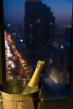 Celebrate! Champagne with Evening Cityscape Royalty Free Stock Photography