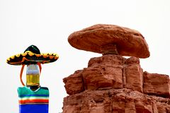 Mexican Hat, Utah Cinco de Mayo celebration. Celebrate Cinco de Mayo at Mexican Hat, Utah.  The beer bottle is wearing a sombrero and a poncho.  Mexican Hat is