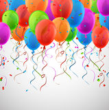 Celebrate colorful background with balloons. Celebration colorful background with balloons and confetti. Vector illustration Royalty Free Stock Photography