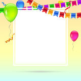 Celebrate colorful background with flying colorful balloons on colored background. Template for greetings or birthday Royalty Free Stock Image