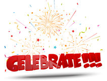 Celebrate with confetti and fireworks Stock Photography