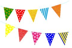 Celebrate decoration banner. Party festival triangle flags collection set on a white background.. Carnival decorations Royalty Free Stock Image