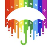 Celebrate diversity lettering with open umbrella Royalty Free Stock Photography