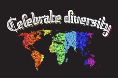Celebrate diversity map lettering Royalty Free Stock Images