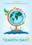 Celebrate Earth Day Logo and Poster template design. Animals Roaming Around a Tree Globe with Green Energy Sources and Clean Water. Editable EPS10 vector and jpg stock illustration