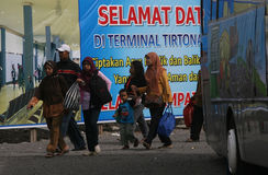 Celebrate Eid. The travelers to arrive at the bus terminal in the city of Solo, Central Java, Indonesia to celebrate Eid Stock Images