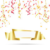Celebrate festive holiday party design with confetti, ribbon background. Stock Images