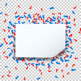 Celebrate festive holiday party design with confetti and speech bubble square frame transparent background. Royalty Free Stock Image