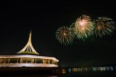 Celebrate firework at Suanluang RAMA IX Royalty Free Stock Image