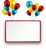 Celebrate frame background with balloons. Royalty Free Stock Images
