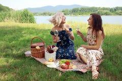 Celebrate friendship on picnic on sunny summer day. Girl friends have a wine celebrate friendship on picnic sunny summer day lauching and have joj stock photography