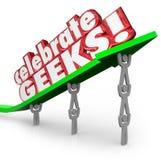 Celebrate Geeks People Nerds Lifting Arrow Words Stock Image