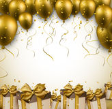 Celebrate golden background with balloons. Celebration golden background with balloons and confetti. Vector illustration Royalty Free Stock Image