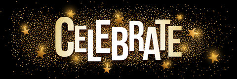 Celebrate golden glitter background banner. Celebrate banner with gold glitter. Vector illustration. Elements are layered separately in vector file Stock Photography