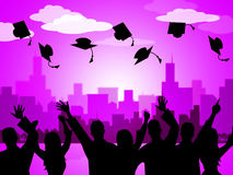 Celebrate Graduation Indicates Party School And Develop. Graduation Education Representing Passing Tutoring And Educated Royalty Free Stock Photography
