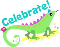 Celebrate with Green Lizard Royalty Free Stock Photos