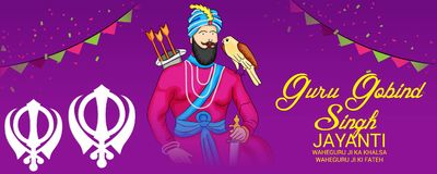 Celebrate Guru Gobind Singh Jayanti. Vector illustration of a Background for Celebrate Guru Gobind Singh Jayanti Stock Photo