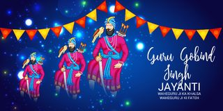 Celebrate Guru Gobind Singh Jayanti. Vector illustration of a Background for Celebrate Guru Gobind Singh Jayanti Stock Photography