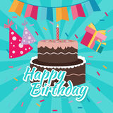 Celebrate happy birthday cake flat illustration vector greetings colorful icon bright color Stock Photo