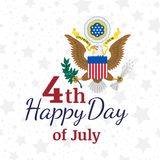 Celebrate Happy 4th of July - Independence Day. Congratulatory banner with the coat of arms and a combination of fonts. Flat vecto. Celebrate Happy 4th of July stock illustration