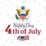 Celebrate Happy 4th of July - Independence Day. Congratulatory banner with the coat of arms and a combination of fonts. Flat vecto. Celebrate Happy 4th of July royalty free illustration