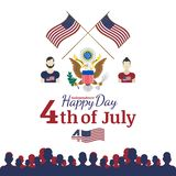 Celebrate Happy 4th of July - Independence Day. Congratulatory banner with the coat of arms and a combination of fonts. Flat vecto Stock Photos