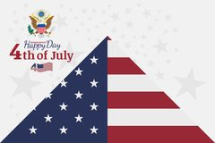 Celebrate Happy 4th of July - Independence Day. Congratulatory banner with the coat of arms and a combination of fonts. Flat vecto Stock Photography